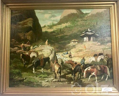'Ариун булаг' амьд байгаль мэт D Арт галерейд Зураач: Ц.Олзбаатар Он: 1997 Хэмжээ: 70*90