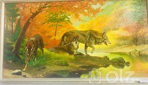 'Гурван чоно' амьд байгаль мэт D Арт галерейд Зураач: Ц.Олзбаатар Он: 2002 Хэмжээ: 70*130