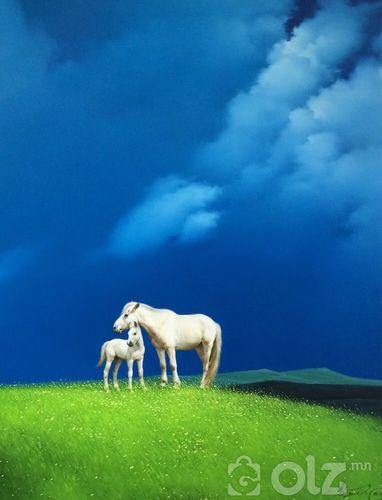 """""""Монгол төрсөн"""" Зураач: Дорждэрэм Хэмжээ:110*140 зотон тос"""